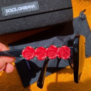 Black Dolce & Gabbana Red Flowers Sunglasses